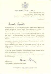 Scrisoarea de Aprobare a Diplomei de Înalt Patronaj al Majestăţii Sale Regele Mihai I.